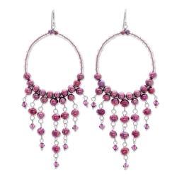 Pearl chandelier earrings, 'Harmony of Purple'