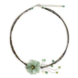Beaded necklace, 'Verdant Floral Chic' - Thai Floral Quartz Necklace