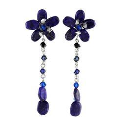 'Blue Bouquet' - Beaded Lapis Lazuli Dangle Earrings