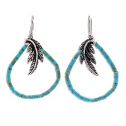'Skybird' - Artisan Crafted Silver and Recon Turquoise Earrings
