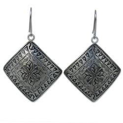 'Hill Tribe Flower' - Thai Sterling Silver Dangle Earrings
