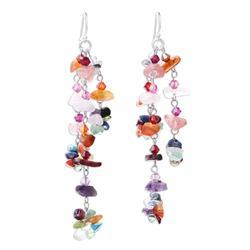 Gemstone earrings, 'Rainbow Rain' - Hand Made Multigem Earrings