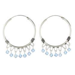 'Classic Blue' - Sterling Silver Beaded Hoop Earrings