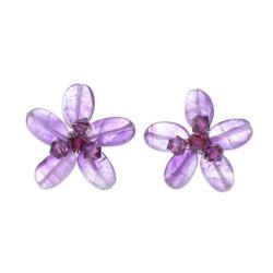 'Peace Flower' - Hand Crafted Beaded Amethyst Earrings