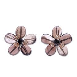 Quartz button earrings, 'Smoky Flower' - Quartz Button Earrings