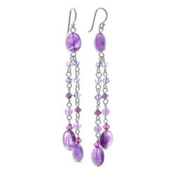'Shimmering Perfection' - Artisan Crafted Amethyst Earrings