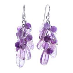 Amethyst cluster earrings, 'Violet Clouds' - Beaded Amethyst Earrings