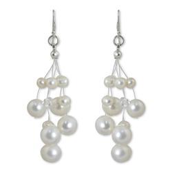 'Sugar Candyfloss' - Thai Bridal Waterfall Pearl Earrings