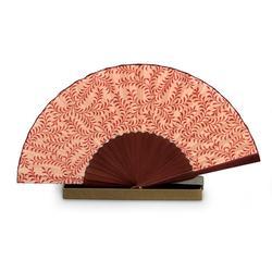 Silk batik fan, 'Red Fern'