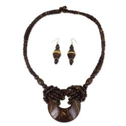 'Thai Princess' - Coconut Shell Earrings and Necklace Jewelry Set