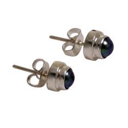 Pearl stud earrings, 'Misty Moon'