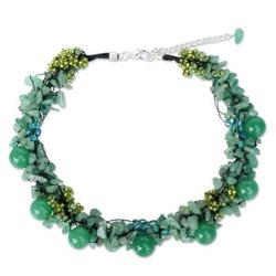 Beaded necklace, 'Gushing Green' - Artisan Crafted Quartz Necklace