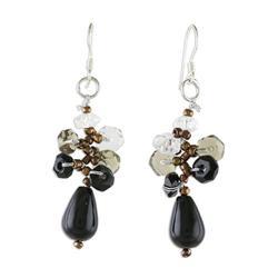 'Glistening Sophistication' - Handmade Thai Dangle Agate Earrings