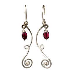 Garnet dangle earrings, 'Thai Ribbons'