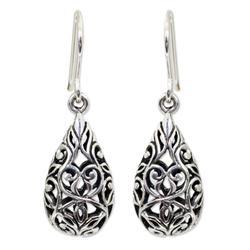 'Forest Tear' - Unique Thai Sterling Silver Dangle Earrings