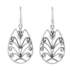 'Thai Tulip' - Hand Made Floral Sterling Silver Dangle Earrings