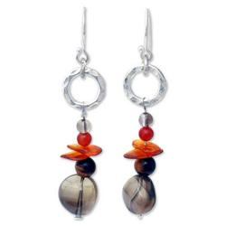 'Thai Exotic' - Hand Made Sterling Silver and Amber Dangle Ea