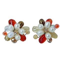 'Autumn Blossom' - Thai Carnelian And Pearl Earrings