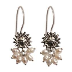 'Femme Fatale' - Artisan Crafted Sterling Silver and Pearl Earrings