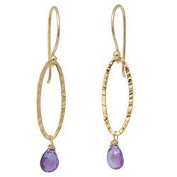 'Iris Dewdrop' - Gold Plated Amethyst Dangle Earrings