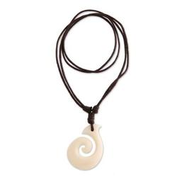 Pendant necklace, 'Hook Me Up' - Handcrafted Cow Bone Pendant Necklace