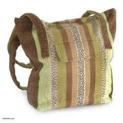'Green Fields' - Alpaca Wool Tote Handbag from Peru