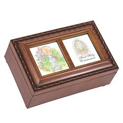Cottage Garden Precious Moments 1st Communion Boy Woodgrain Music Box Plays Jesus Loves Me