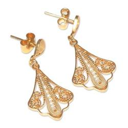 'Spanish Lace' - 21K Gold Vermeil Filigree Dangle Earrings fr