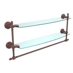 Allied Brass Retro Wave 2 Piece Tiered Shelf w/ Tower BarGlass/Metal in Brown, Size 15.0 H x 24.0 W x 5.0 D in   Wayfair RW-34TB/24-CA