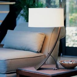 """Hubbardton Forge Stasis 28.3"""" Metallic Arched Table Lamp Metal/Fabric in White/Brown, Size 28.3 H x 16.0 W x 16.0 D in 