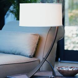 """Hubbardton Forge Stasis 28.3"""" Metallic Arched Table Lamp Metal/Fabric in White/Black/Brown, Size 28.3 H x 16.0 W x 16.0 D in   Wayfair"""