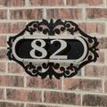 LaRoyal House Number Plaque Silver/Black One to Three Numbers, One to Three Numbers, Silver/Black