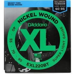 D'Addario EXL220BT Balanced Tension Super Light Nickel Wound Long Scale Bass Strings - .040-.095