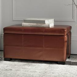 """Latitude Run® Kamyra 30.1"""" Wide Faux Leather Tufted Rectangle Storage Ottoman in Brown, Size 17.7 H x 30.1 W x 18.1 D in   Wayfair HUD8230R"""