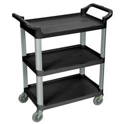 Luxor SC12-B 3 Level Polymer Utility Cart w/ 200 lb Capacity, Raised Ledges