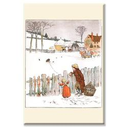 Buyenlarge Four & Twenty Blackbirds: Children Look at Blackbirds in the Field of Snow Graphic Art on Wrapped CanvasCanvas & Fabric   Wayfair in White