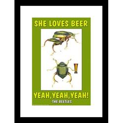 Buyenlarge She Loves Beer, Yeah, Yeah, Yeah - The Beetles Framed Graphic ArtPaper in Brown/Green/White, Size 23.5 H x 17.5 W x 0.5 D in | Wayfair