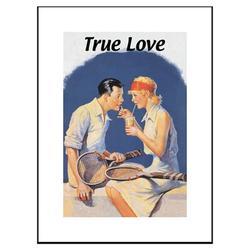 Buyenlarge True Love Sharing a Milkshake after Tennis Framed Vintage AdvertisementPaper in Blue/Brown/White, Size 23.5 H x 17.5 W x 0.5 D in Wayfair