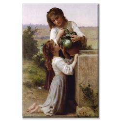 Buyenlarge At the Fountain by William-Adolphe Bouguereau Painting Print on Wrapped CanvasCanvas & Fabric in White, Size 36.0 H x 24.0 W x 1.5 D in