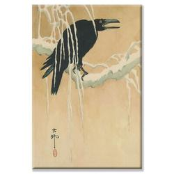 Buyenlarge Blackbird in Snow Painting Print on Wrapped CanvasCanvas & Fabric in White, Size 36.0 H x 24.0 W x 1.5 D in | Wayfair 23623-xC2436