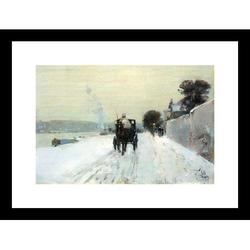 Buyenlarge Along the Seine Framed Painting PrintPaper in Black/Brown/White, Size 17.5 H x 23.5 W x 0.5 D in | Wayfair 25227-81218BF