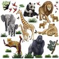 """Small Safari Animal Wall Decals- (30) Jungle Animal Wall Stickers for Kids Room Decor (6) 8.5"""" x 11"""" Sheets of Precut Decals"""