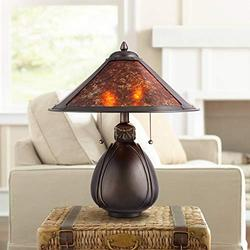 """Nell Art Deco Tiffany Style Small Accent Table Lamp 19"""" High Bronze Brown Antique Pottery Ceramic Natural Mica Shade Decor for Bedroom House Bedside Nightstand Home Office - Robert Louis Tiffany"""