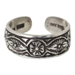 'Thai Flowers' - Floral Sterling Silver Toe Ring