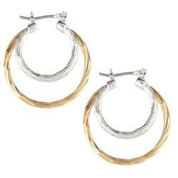 Bay Studio Two Tone Triple Hoop Earrings