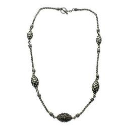 Long necklace, 'Ladybugs' - Sterling Silver Pendant Necklace