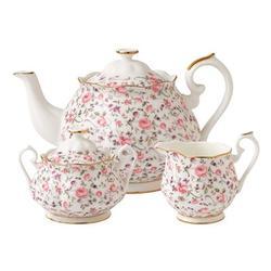 Royal Albert Rose Confetti 3 Piece Teapot Set Bone China in White, Size 6.8 H in | Wayfair 652383739338