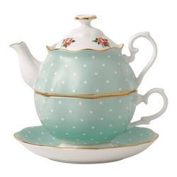 Royal Albert Polka Rose 2 Piece Teapot Set Bone China in Blue, Size 7.0 H x 9.5 W in   Wayfair 652383744059