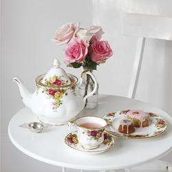 Royal Albert Old Country Roses 3 Piece Teapot Set Bone China in White/Yellow, Size 6.3 H x 9.8 W x 9.8 D in   Wayfair 652383203570