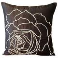 The HomeCentric Handmade Pillow Covers 22x22 inch (55x55 cm), Dark Brown Pillows Cover, Rose Flower Jute Cord Floral Theme Pillows Cover, Art Silk Square Pillowcases, Floral Modern - Enchanted Rose
